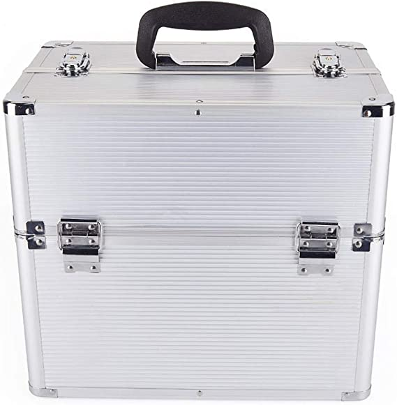 Yecia Caja de maquillaje de belleza de aluminio Caja de almacenamiento de cepillo de maquillaje cosmético de moda Organizador Caja de almacenamiento Caja de cosméticos de maletero: Amazon.es: Belleza
