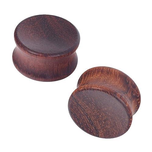 D&M Jewelry 2 Piezas 30mm Dilatador de Madera Cóncava de Color Marrón para los Oídos
