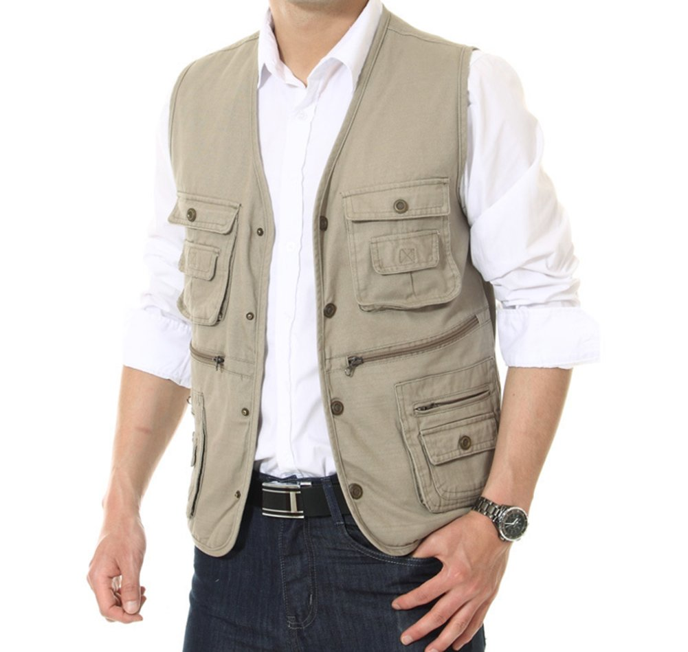 Mens Cotton Casual Outdoor Fishing Vest, Rice White, US L/Asia 3XL