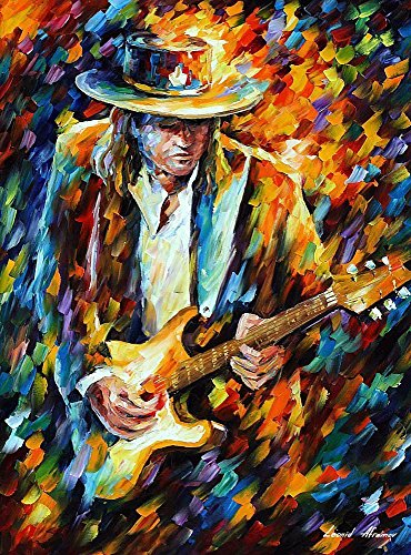 Stevie Ray Vaughan — PALETTE KNIFE Modern Impressionist Portrait Oil Painting On Canvas By Leonid Afremov