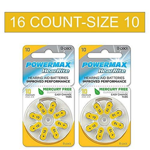 Powermax Size 10 Hearing Aid Batteries, Yellow Tab, Zinc Air Mercury-Free, HearRite, 16 Count