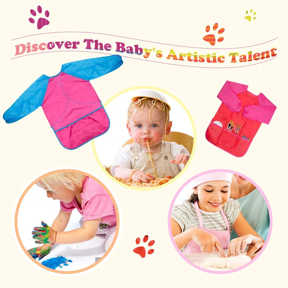AOPRIE 2 Pcs Kids Smock Waterproof Art Apron Art Smock for Kids Children Boy Kids Aprons for Girls Toddler Art Supplies Long Sleeve Toddler Apron with 3 Pockets for Age 2-6 Years