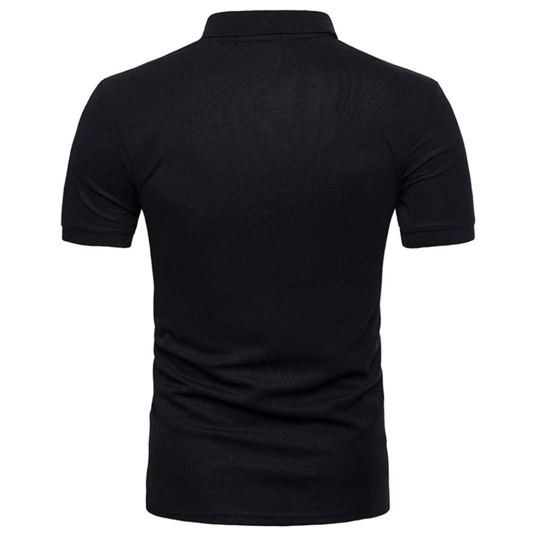Camisas Manga Corta Hombre Moda de los Hombres de Manga Corta Camiseta Casual Slim Patchwork Top Blusa Beikoard Camiseta y Polos Basica Negro, S