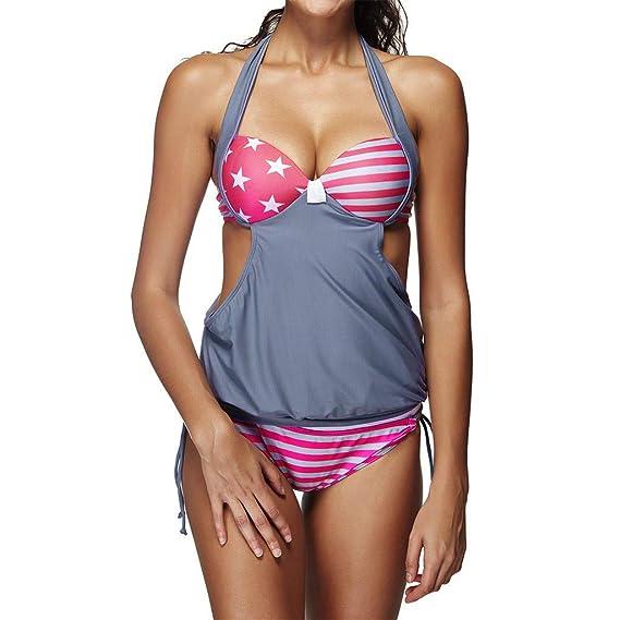 Dorical Mujer Bikini Sexy Deporte Vestido de Retazos de impresión Hueco hacia Fuera Sin Espalda Cintura Alta Dividir Dos Piezas Traje de baño Ropa de Playa ...