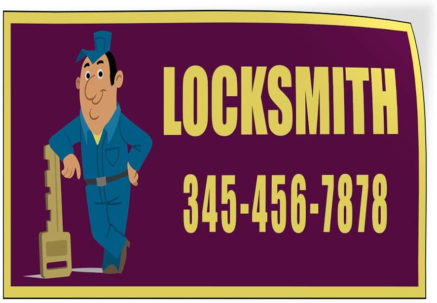 Custom Door Decals Vinyl Stickers Multiple Sizes Locksmith Phone Number Purple Yellow Business Locksmith Outdoor Luggage /& Bumper Stickers for Cars Purple 28X20Inches Set of 5