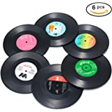 Coasters for Drinks, 6 Pieces Vinyl Record Disk Coasters, Effective Protection of the Desktop to Prevent Damage- 4.1 Inch Size