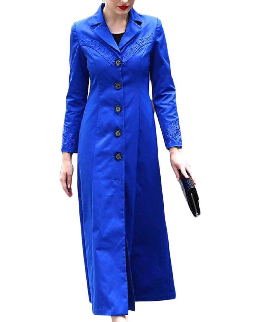 Pivaconis Women's Trench Coat Coat Longline Embroidered Buckle Topcoat Blue 2XL
