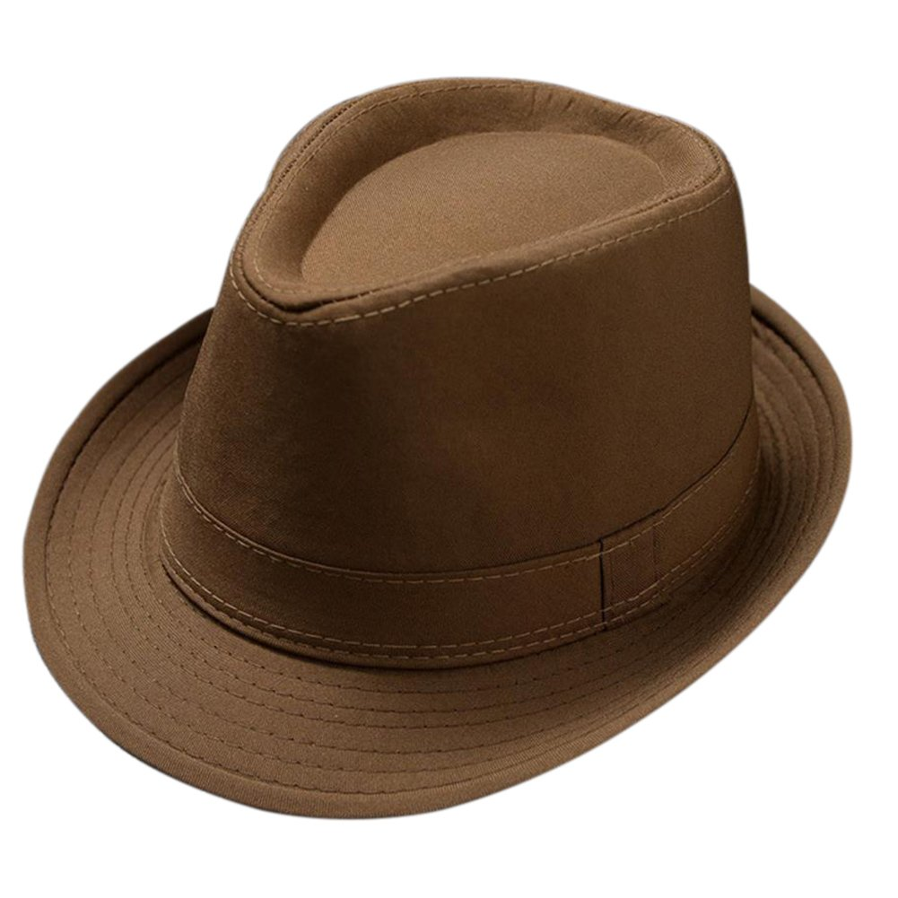 Leisial Panama Fedora Hats for Men Trilby Hat Panama Style Summer Sun Jazz Cap Trilby Straw Hats for Men Safari Beach Hat(Brown) 31GP55SOB1VOI15HEUELOCB1