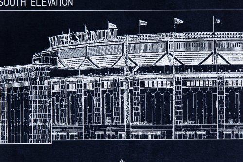 Yankee stadium ballpark blueprint cadstore yankee stadium blueprint style print malvernweather Image collections