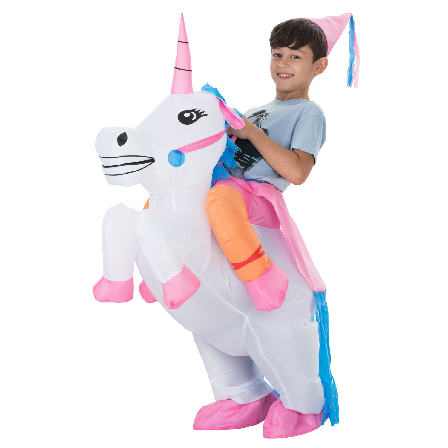 TOLOCO Inflatable Unicorn Rider Costume | Inflatable Costumes For Adults Or Child | Halloween Costume | Blow Up Costume (Kid Unicorn) by TOLOCO