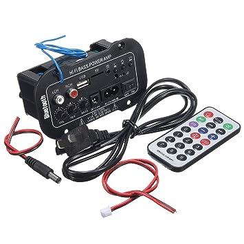 Elenxs 220 Bluetooth Car HiFi Bass Power Amp Amplificador estéreo Digital USB TF de Control Remoto: Amazon.es: Coche y moto