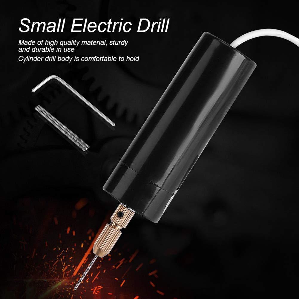DC 5V Hand Drill Black with 3pcs Bits Handheld Micro USB Drill Portable Mini Small Electric Drills