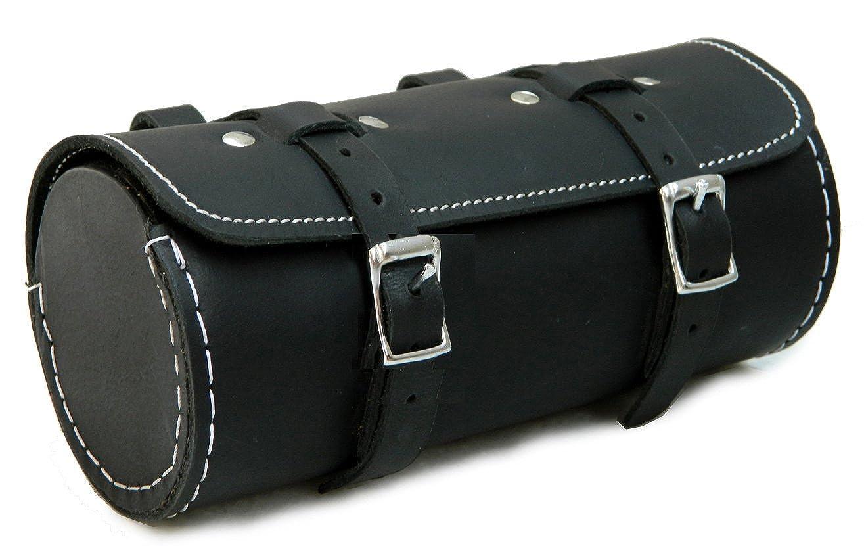 HERTE Mens Genuine Leather Bicycle Round Saddle Bag Utility Tool Bag Black