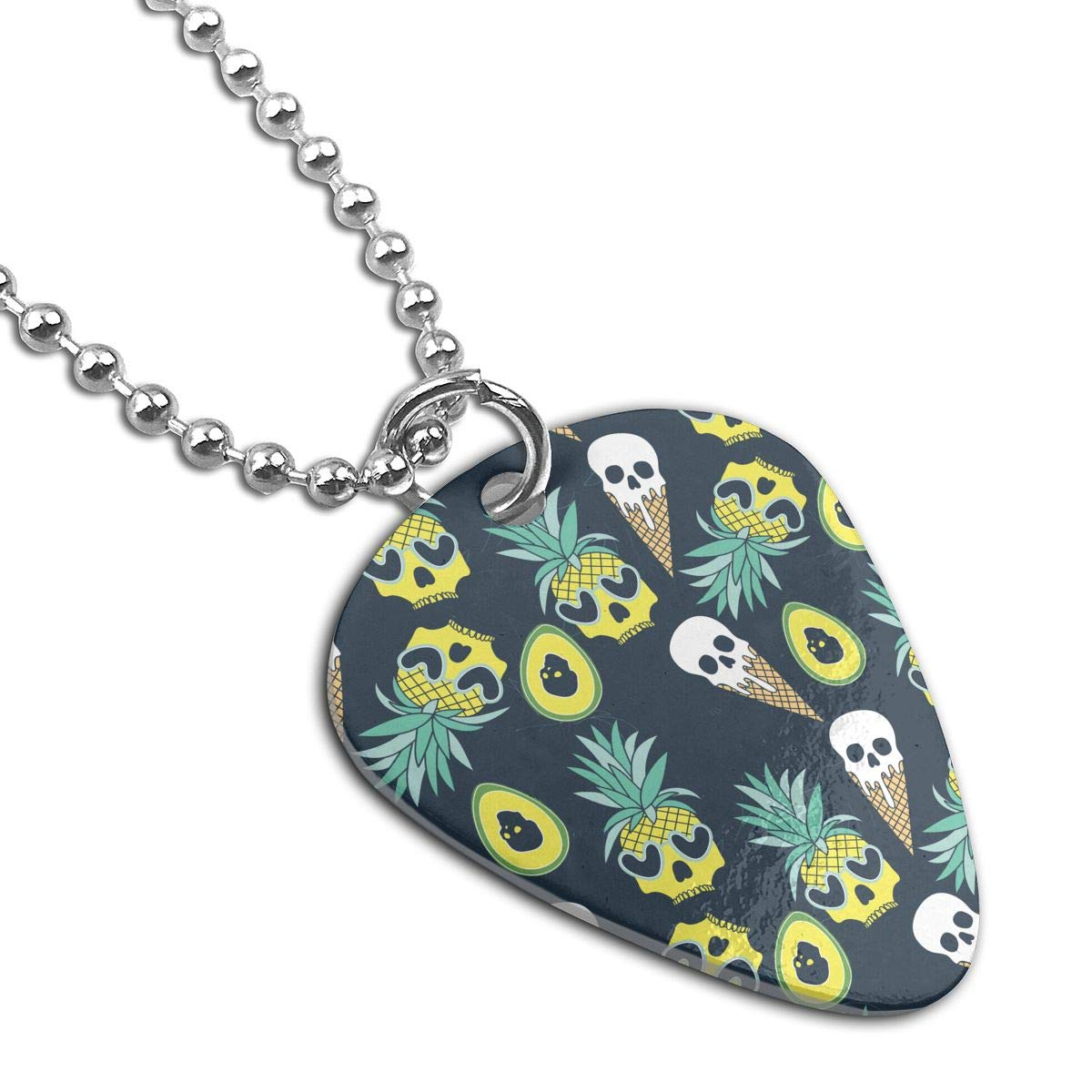 BLACK SP Pineapple Skull Personalized Custom Adjustable Chain Necklace with Chain Silvery for Family