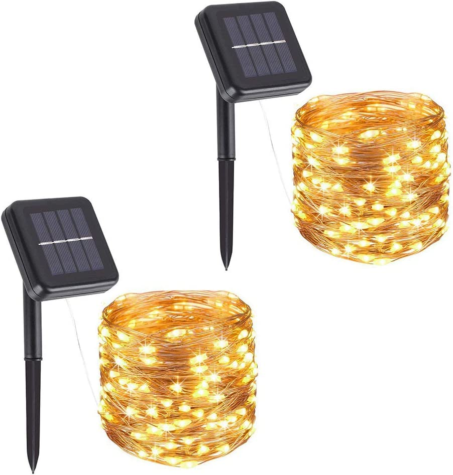Solar String Lights, 100 LED Copper Wire Lights, Waterproof Fairy Decoration Starry String Lights - 8 Modes, Indoor/Outdoor for Gardens, Patios, Homes, Parties, Warm White 2 Pack