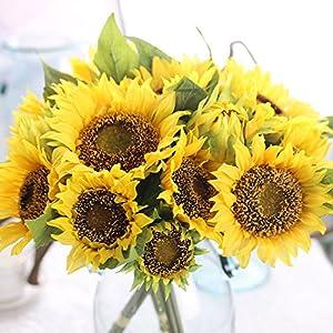 Artificial Fake Flowers 4 Pcs 6 Head Sunflowers Arrangement Home Wedding Outdoor Festive Party Decor UV Resistant Plants Shrubs Greenery for Window Box Patio Yard Indoor Garden Office Decor 4