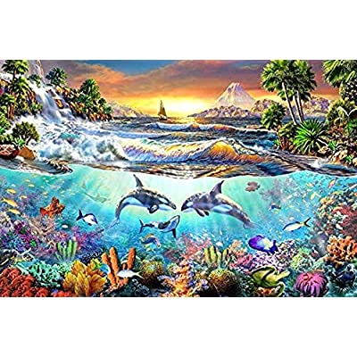 YIPINQUAN Jigsaw Puzzles 300 Pieces for Adults and Kids Whale Bay Wooden Puzzle Educational Toys Home Decor Wall Art: Toys & Games