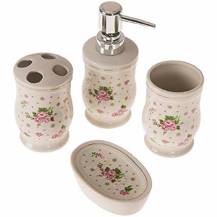 Diya Bath Luxury White Vintage F Rose Bathroom Accessories 4