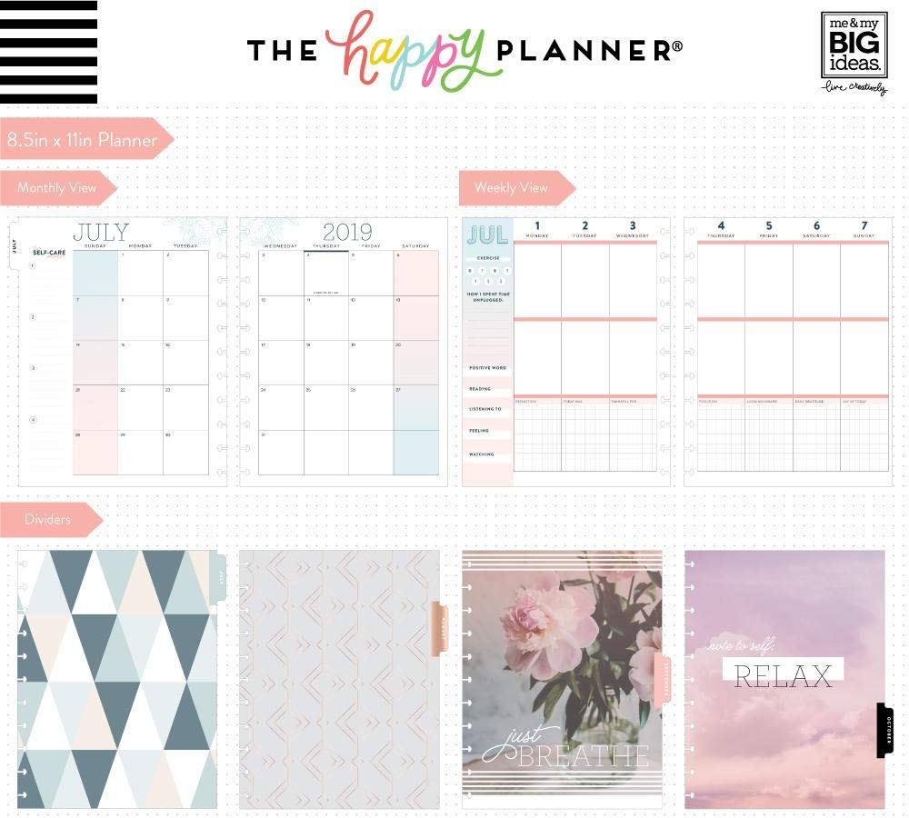 Create 365 ; Big Happy Planner ; Wellness ;'' Just Breathe'' Dated 18 Months (July 2019-December 2020) ; Vertical Layout ; Weekly & Monthly Page layouts ; Size: 11.5'' x 10.25 by Create 365 (Image #3)