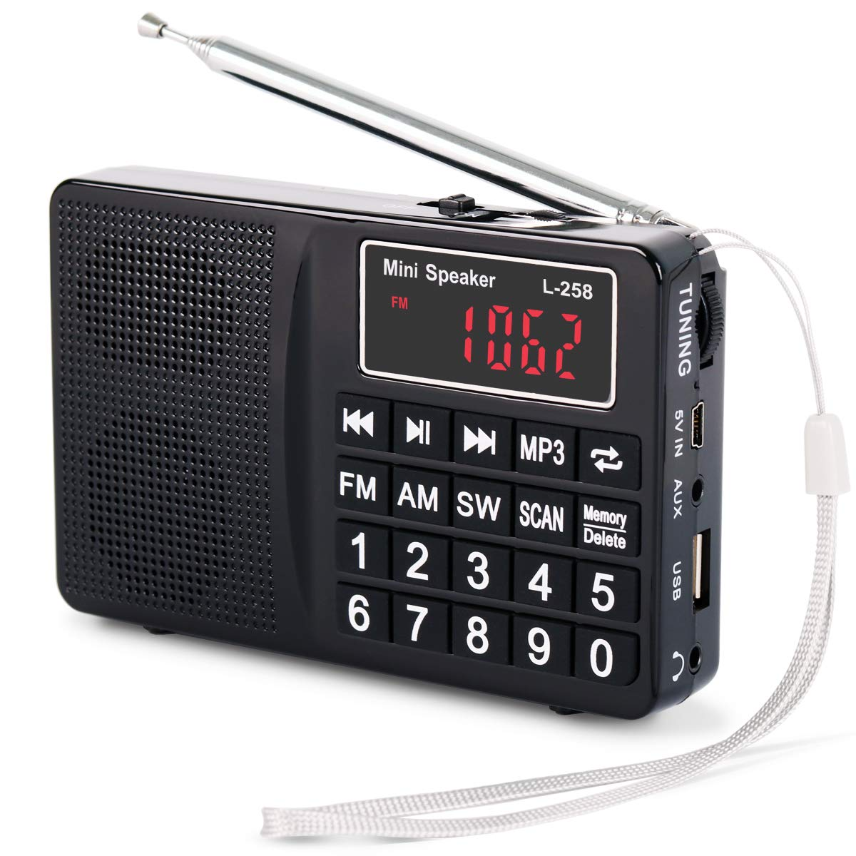 PRUNUS Portable SW/FM / AM (MW) / MP3 / USB/SD / TF Radio with Bass Speaker. Large Button and Large Display. Stores Stations Manually and Automatically. Allowing The User to Play Stored MP3 Files.