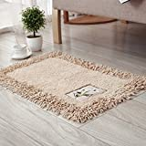 TOFERN 100% Cotton Chenille Shaggy Embroidery Bathroom Bedroom Rug Non-slip Absorbent Durable Skin-friendly Machine Washable Anti-fading Doormat Home Decor Carpet Entrance Mats, Light brown, 45X70cm