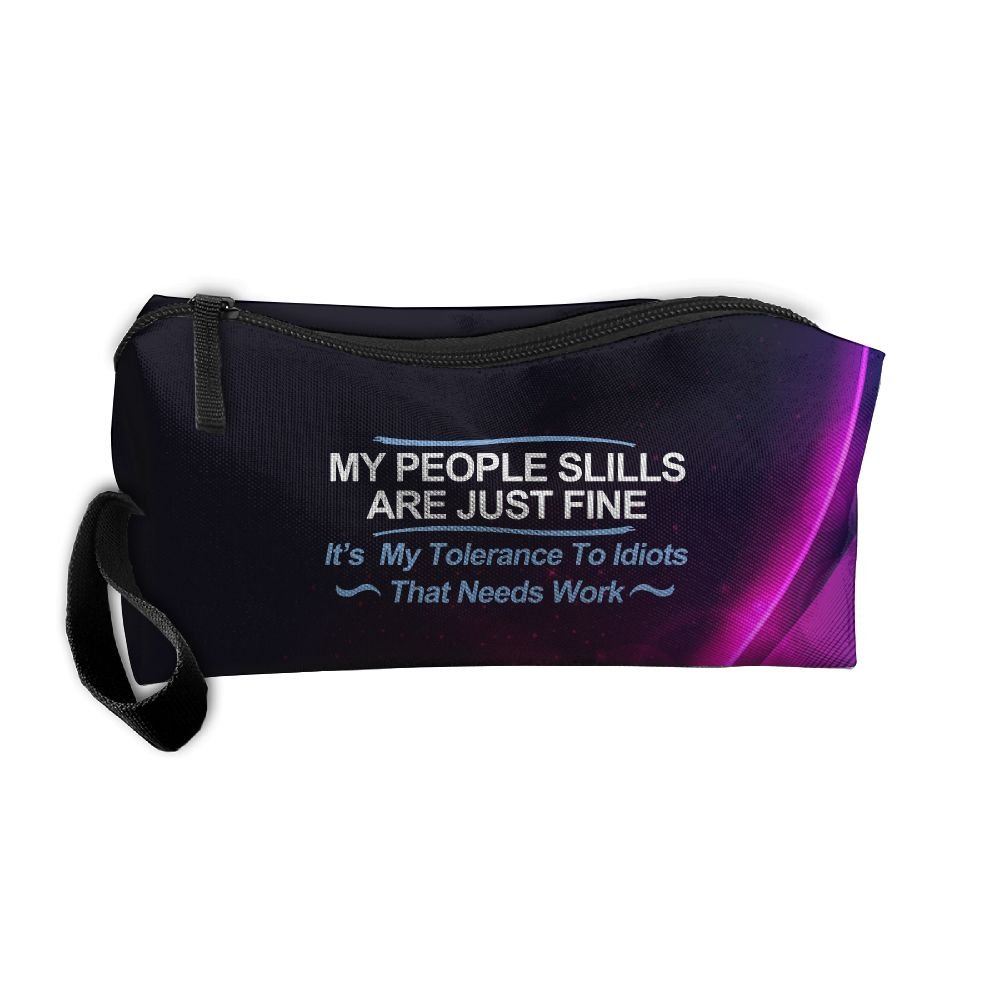 My People Skills Are Fine It's My Idiots Beauty Women Portable Travel Toiletry Pouch Makeup Organizer With Zipper