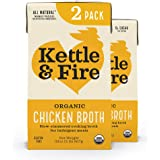 Kettle and Fire Organic Chicken Broth, Keto, Paleo, and Whole 30 Approved, Gluten Free, High in Protein and Collagen, 2 Pack