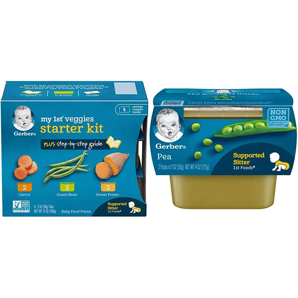 Gerber Purees My 1st Vegetables, Box of 6 2 Ounce Tubs (Pack of 2) & 1st Foods, Pea Pureed Baby Food, 2 Ounce Tubs, 2 Count (Pack of 8)