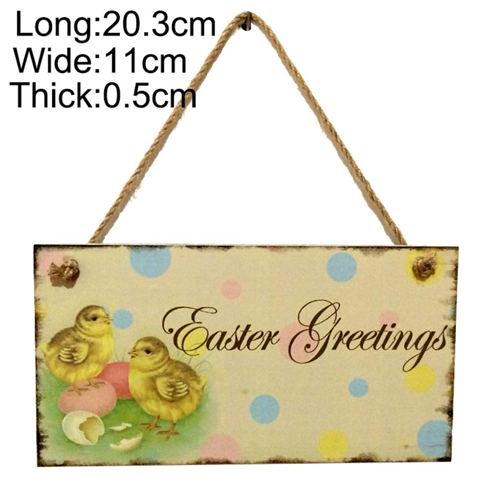 TYewa98556 Wooden Happy Easter Plaque Chick Home Shop Window Hanging Sign Tag Decoration