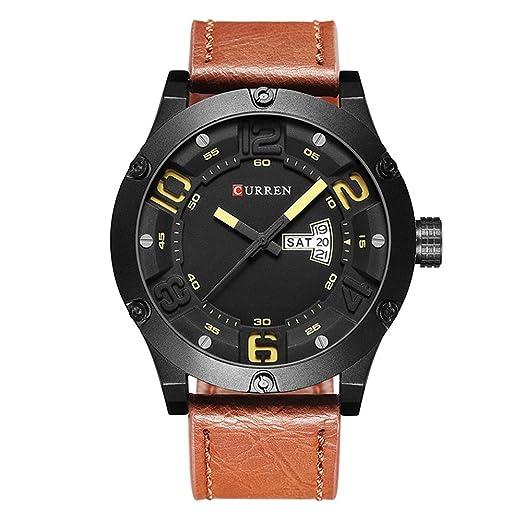fb54ff70df859 Montres Hommes , Luxe Véritable Bande Cuir , Date Calendrier Montre-Bracelet  Mens Casual Business