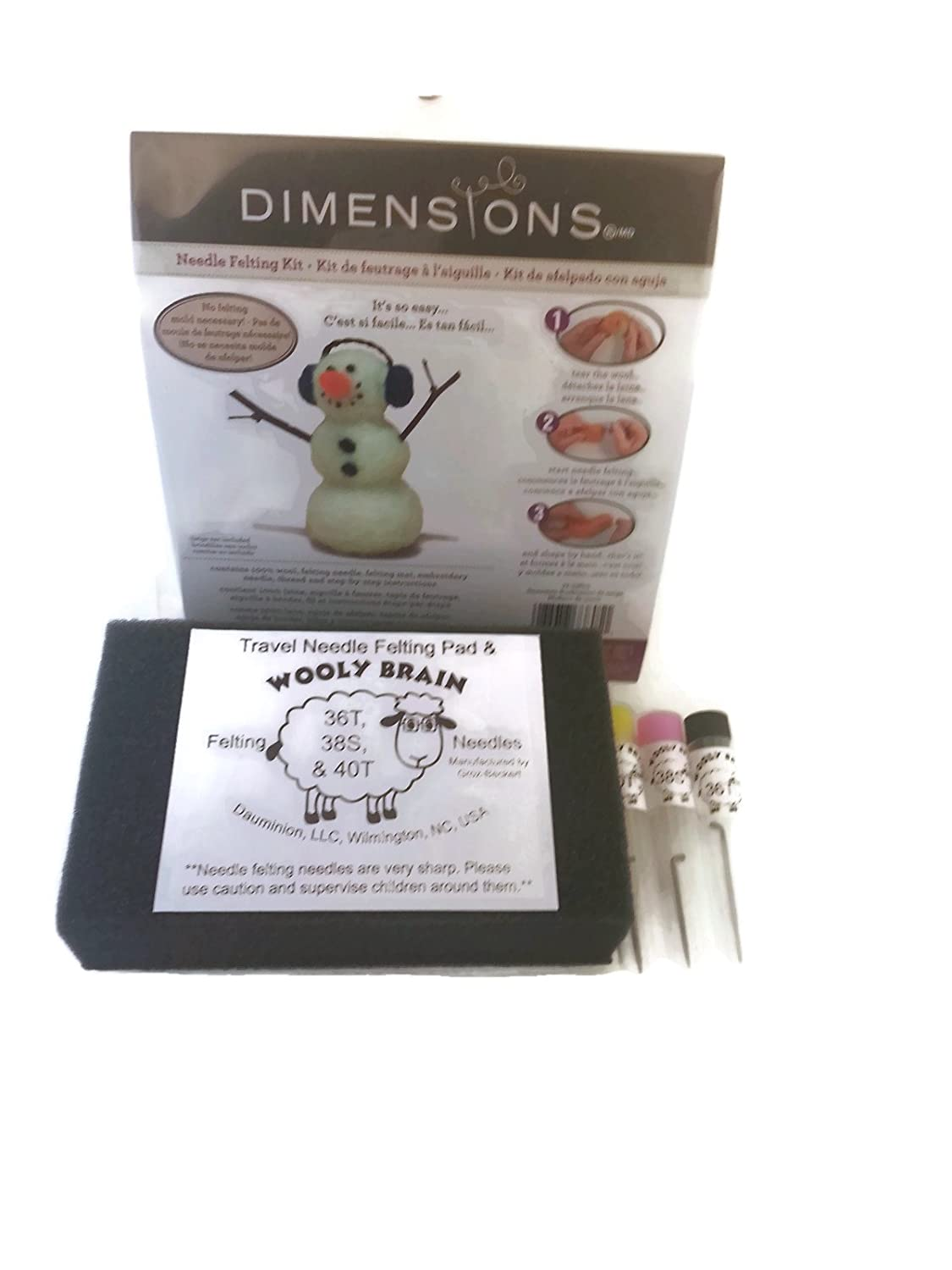 Amazon.com: Needle Felting Winter Bundle: Dimensions Snowman Kit, Wooly Brain Felting Pad and 3 Types of Needles: Arts, Crafts & Sewing