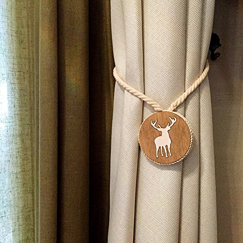KIMJUN Curtain Tiebacks Magnetic Curtain Buckle Elk Curtain Tie Band Rope Holdbacks 1 (Elk Tie Backs)