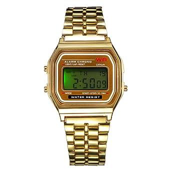BYD Reloj Digital con los hombres de ginebra de tono oro pulsera de acero inoxidable - dorado Plateado: Amazon.es: Relojes