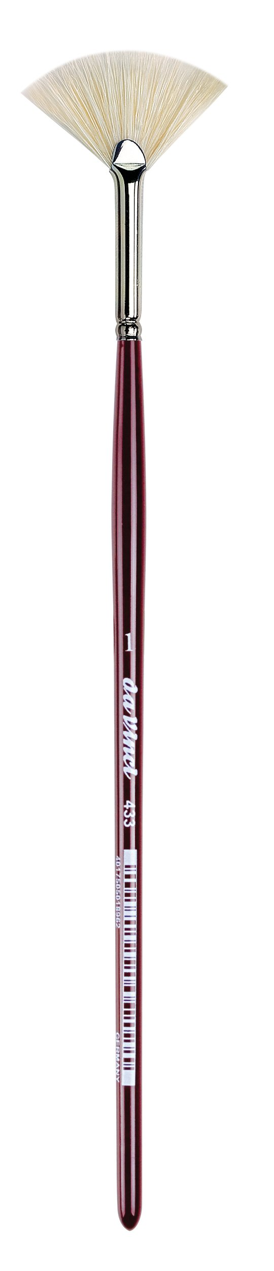 da Vinci Varnish & Priming Series 433 Fan Blender Brush, Extra Short Hog Bristle with Maroon Handle, Size 1 by da Vinci Brushes