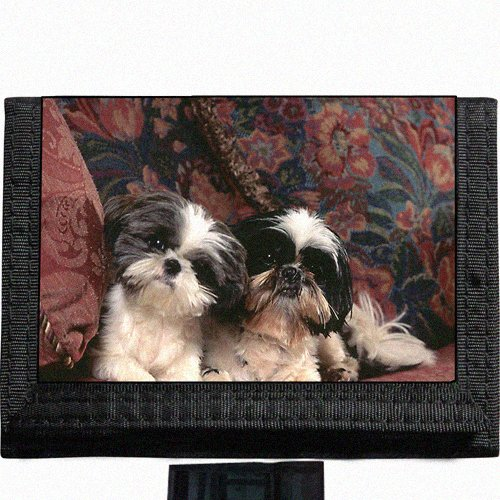 Puppies shih tzu Black TriFold Nylon Wallet Great Gift Idea