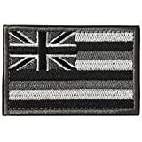 SpaceAuto State of Hawaii Flag Tactical Morale Patch Black White Gray