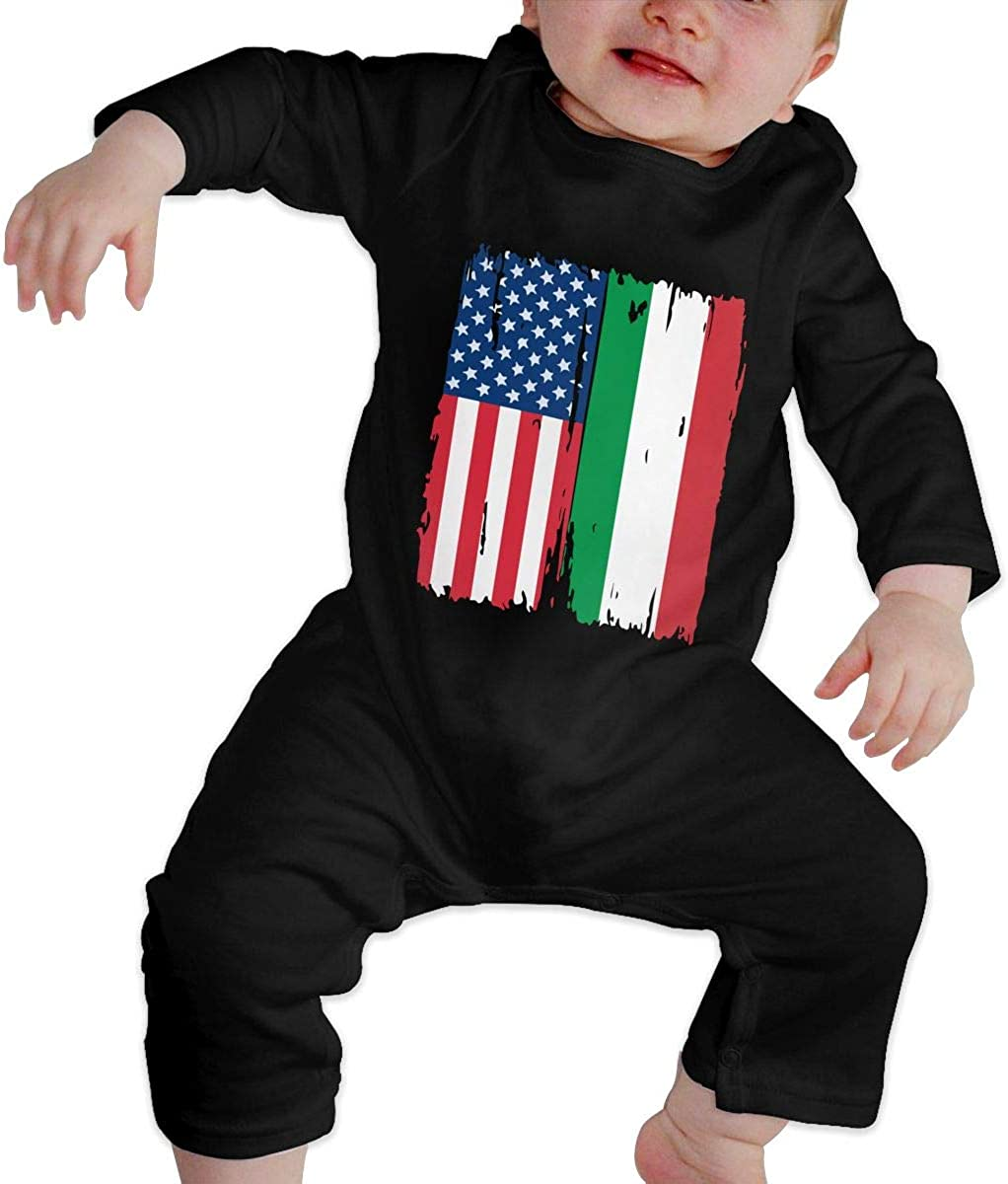 BKNGDG8Q Unisex Baby Romper Jumpsuit American Italian Flag Organic One-Piece Bodysuits Coverall Outfits