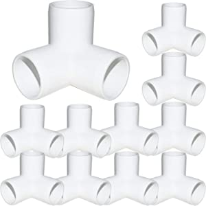 "12Pack 3-Way PVC Fittings,1"" Elbow Fittings for Build Heavy Duty PVC Furniture, Grade SCH40 3-Way PVC Elbow Side Outlet Tees, 90 Degree PVC Corner Elbow Fitting for Greenhouse Frame Tent Connections"