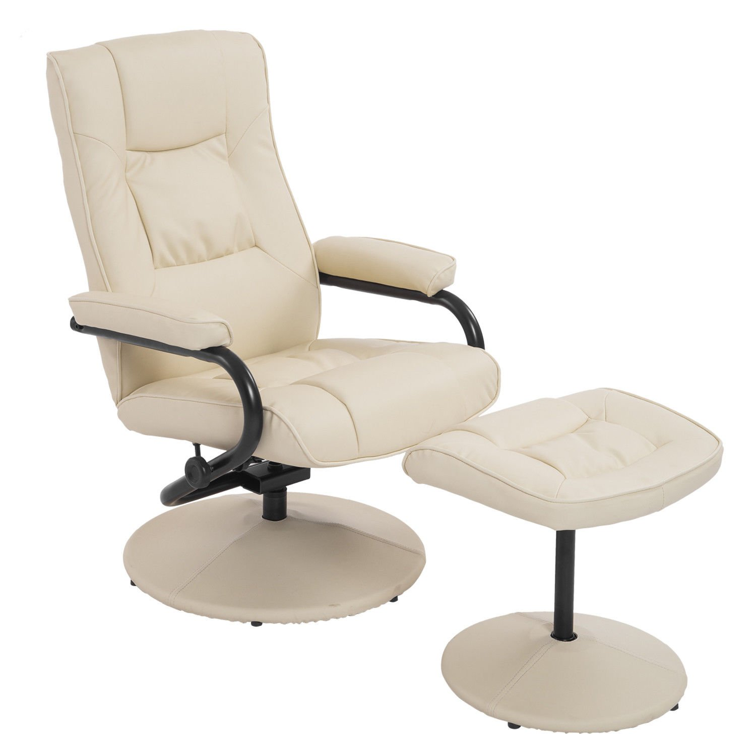2PCS Cream Recliner Chair Armchair Lounge Seat Sponge Padded Armrest Footrest Stool Ottoman Adjustable Backrest Recliner Home Office Living Room Lounging Rest Sleeping Entertainment Relaxation Use by Almacén