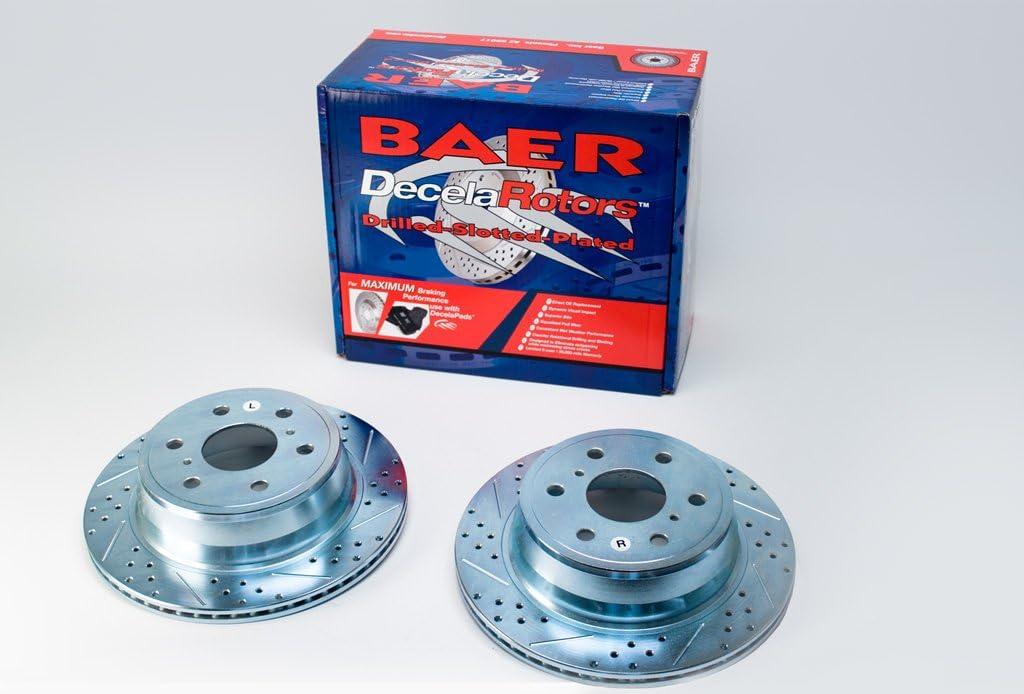Pair BAER 55012-020 Sport Rotors Slotted Drilled Zinc Plated Rear Brake Rotor Set