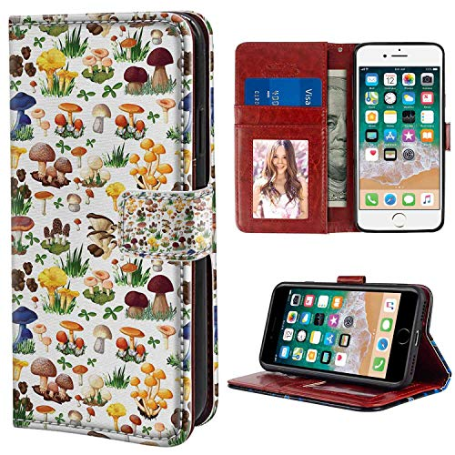 Wallet Case for iPhone 7 | 8 (4.7 Version) Mushroom Pattern with Types of Mushrooms Wild Species Organic Natural Food Garden Theme Multicolor for Girl Case