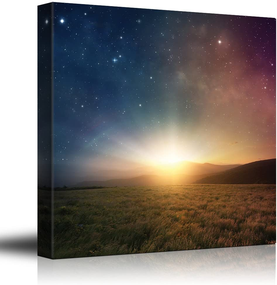 Green Field Surrounded by Mountains as The Sun Begins to Rise on a Blue and Red Galactic Sky - Canvas Art Home Art - 24x24 inches
