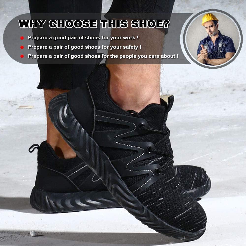 GUFANSI Chaussure de S/écurit/é Homme Femme Chaussures de Travail en Acier Toe L/ég/ère Respirant S/écurit/é Baskets Anti-crevaison Chaussures de Protection Randonn/ée en Plein air