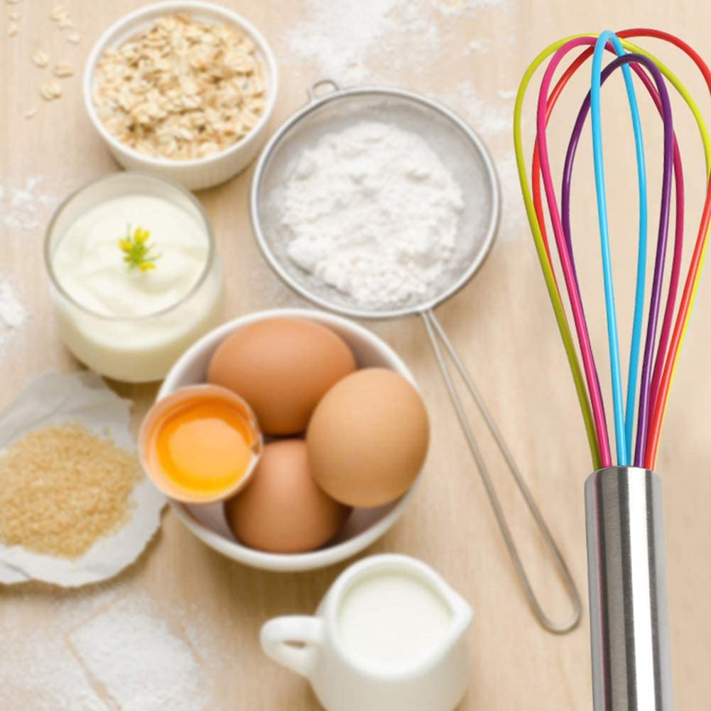 Ouken Colorful Silicone Egg Beater Whisk Drop Cooking Egg Beater Mixer Whisk Tools Milk and Egg Beater Blender Kitchen Utensils