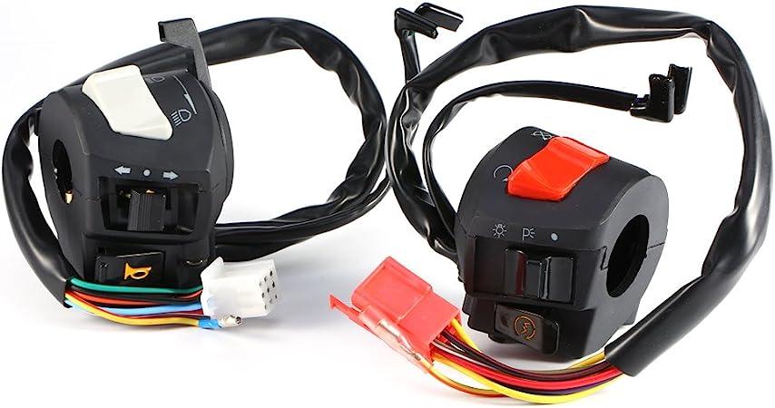 "Motorcycle ATV 7//8/"" 12V Handlebar Headlight Horn ON OFF Start Kill Switch-Gray"