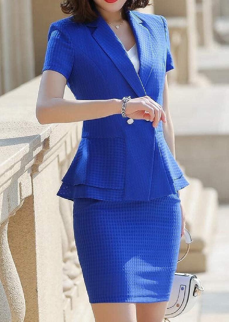 Pandapang Womens Blazer and Skirt Short Sleeve Two Button Casual Sets