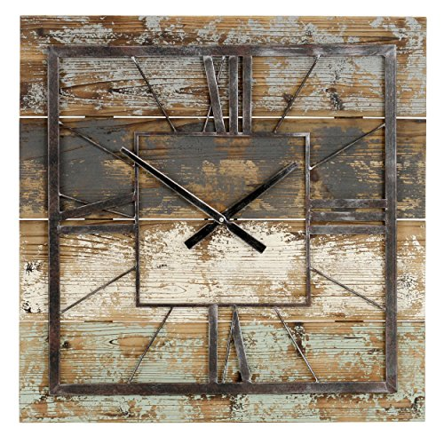 Aspire Weston Square Wall Clock, Multicolor industrial wall decor