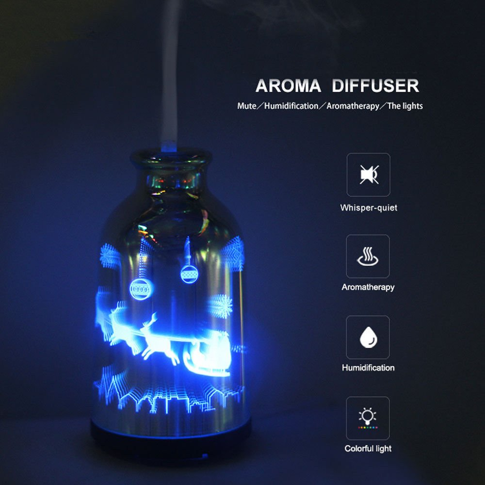 COSVI 3D Effect Glass Ultrasonic Oil Diffuser Humidifier, 120ML Cool Mist Aroma Diffuser Aromatherapy with Auto Shut-off Function, Whisper quiet Operation(3D Effect Glass Cover)