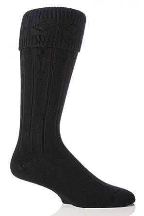 Glenmuir Mens 1 Pair Wool Kilt Socks 8-10 Black
