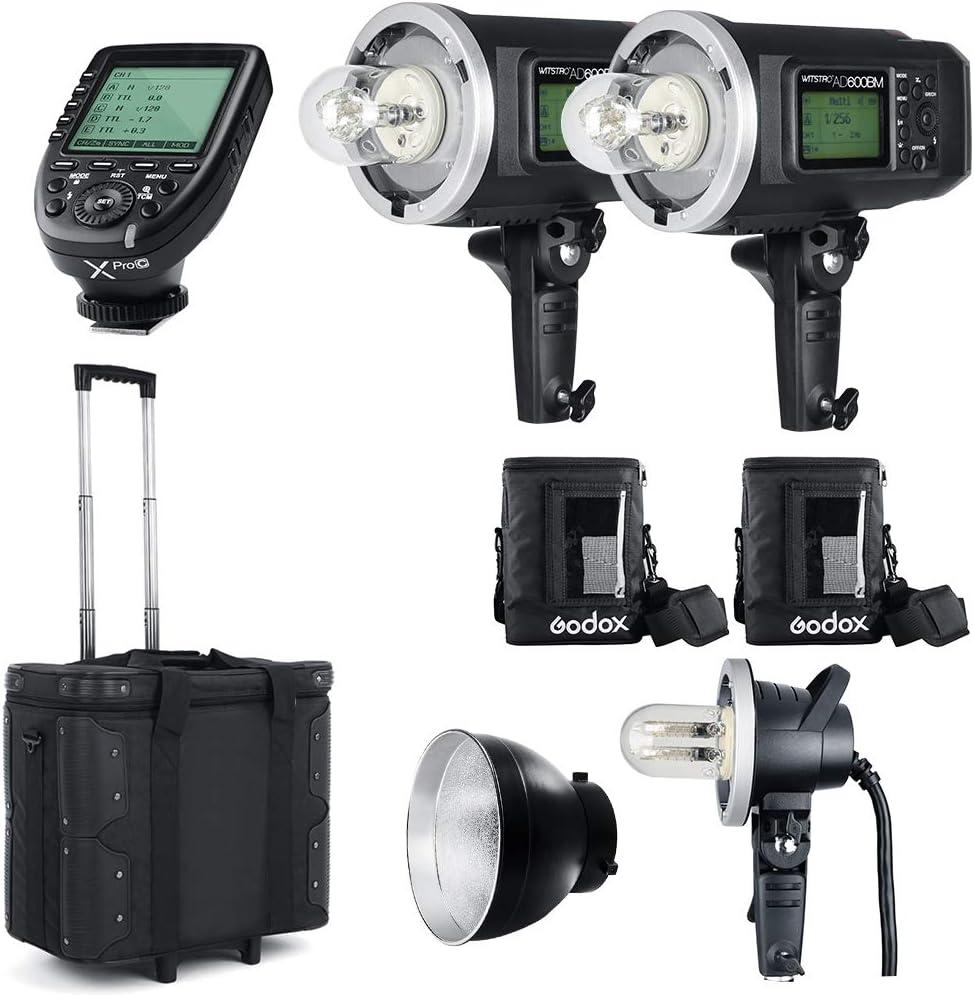 2PCS Godox AD600BM Bowens Mount 600Ws GN87 High Speed Sync Outdoor Flash Strobe Light with Xpro-C Trigger//AD-H1200B PB600 Reflector//Draw-Bar Box//AD-Glass Cover 1200W Flash Tube